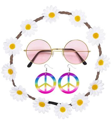 HIPPIE SET (flower headband, earrings, glasses)