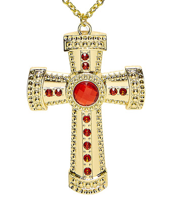 GOLD CROSS NECKLACE WITH GEMS