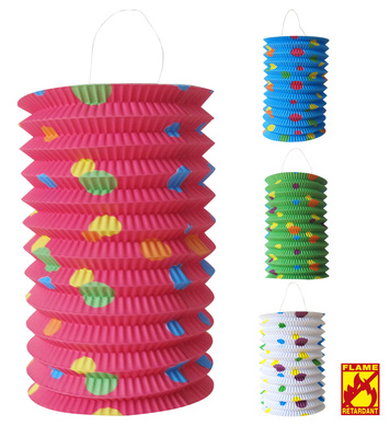 DOTTED LANTERN 13 cm flame retardant - 4 colors ass