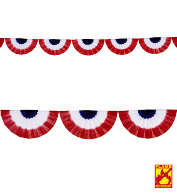 BLUE-WHITE-RED TRICOLOR FAN GARLAND 2.75 m