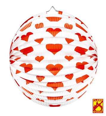 Red Hearts Lampion Ø 36cm For Fancy Dress Accessory Decoration Valentines