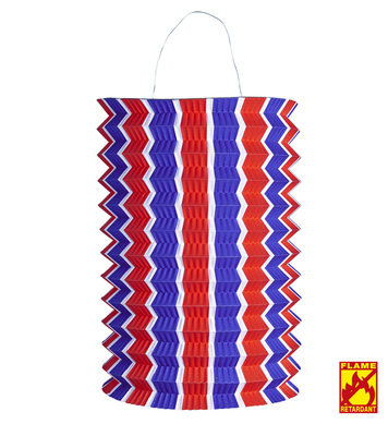 BLUE-WHITE-RED STRIPED LANTERN 28 cm - flame retardant