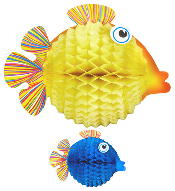 Set of 2 HONEYCOMB BALL FISH 33cm