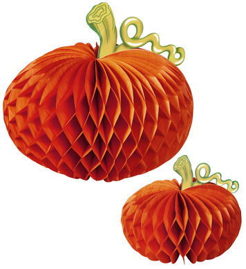 SET 2 PUMPKIN HONEYCOMB CENTERPIECE - 20 + 33cm
