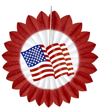 RED USA FLAG PAPER FAN 50cm