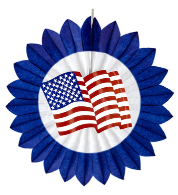 BLUE USA FLAG PAPER FAN 50cm