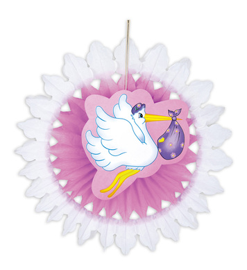 PINK STORK WITH BABY PAPER FAN 50cm