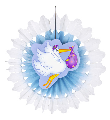 AZURE STORK WITH BABY PAPER FAN 50cm
