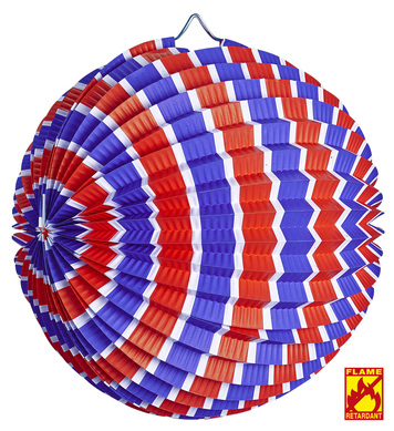BLUE-WHITE-RED STRIPED PAPER BALL 25 cm - flame retardant