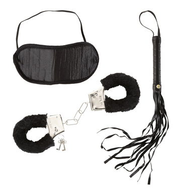 DOMINATRIX SET (handcuffs blindfold whip)