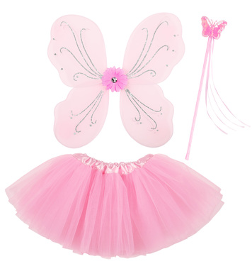 PINK BUTTERFLY SET  (WINGS, WAND, TUTU SKIRT)