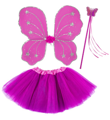 HOT PINK BUTTERFLY SET (WINGS , WAND, TUTU SKIRT)