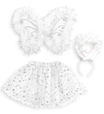 ANGEL SET WITH MARABOU (WINGS 46,5x30cm WAND, TUTU SKIRT)