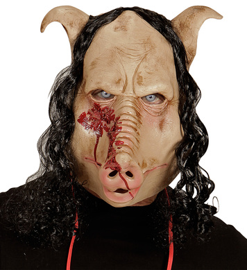 BUTCHER SHOP PIG MASK WITH HAIR - FULL HEAD MASK
