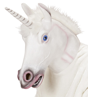 FULL HEAD MASK WITH PLUSH HAIR  - UNICORN
