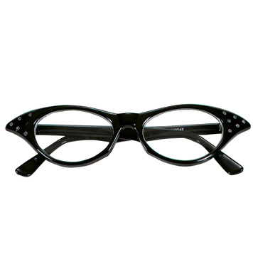 50s GLASSES WITH STRASS - BLACK