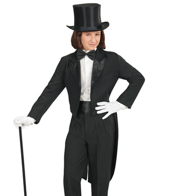 BLACK TAILCOAT WITH SATIN COLLAR Childrens