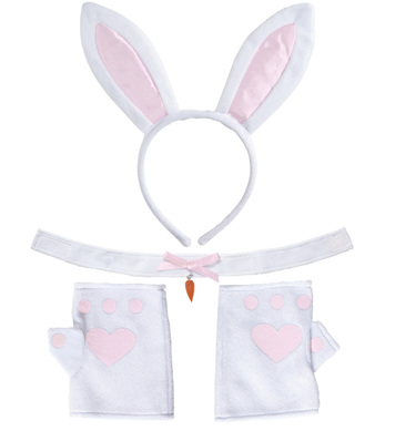 BUNNY SET - WHITE (ears choker gloves)