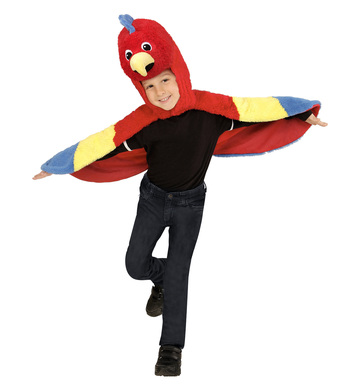 PLUSH PARROT (2-4y) (hooded winged cape with mask)
