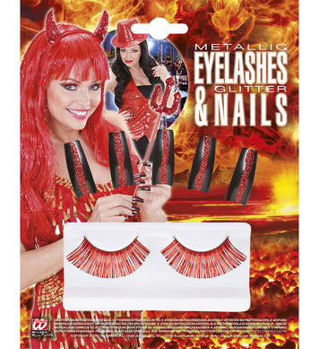 SET OF RED EYELASHES & 10 GLITTER NAILS