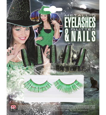 SET OF GREEN EYELASHES AND 10 GLITTER NAILS