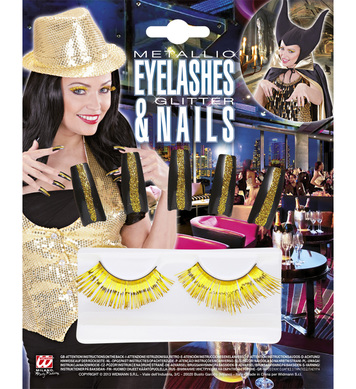 SET OF GOLD EYELASHES & 10 GLITTER NAILS