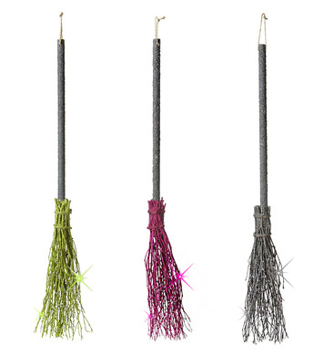 CROOKED DELUXE GLITTER WITCH BROOMS 98 cm - 3 colours