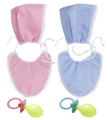 BABY SET (bonnet bib pacifier) - pink or blue