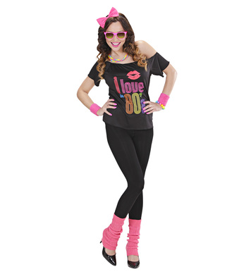 80s GIRL - L (T-shirt bow headband leg warmers)