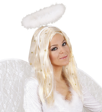 ANGEL WIG W/ GOLD TINSEL & STARS BOXED