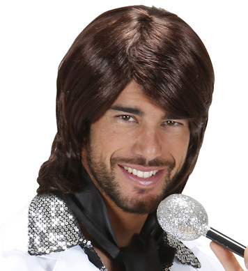 70s POP STAR BENNY WIG BOXED DARK BROWN