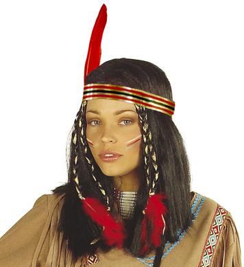 CHEYANNE INDIAN LADY WIG W/DEC BLACK