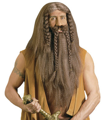 BARBARIAN WIG W/BEARD/TACHE BROWN