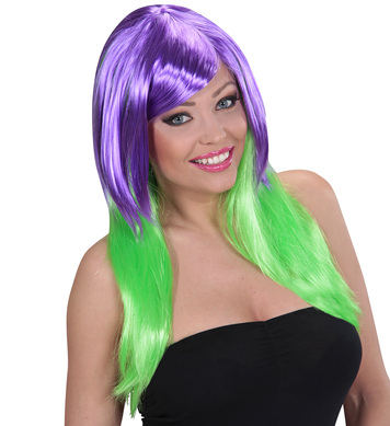 PURPLE/GREEN BICOLOUR WIG