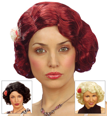 50s WIG W/FLOWER BOXED (black/blonde/red)