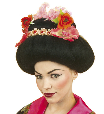 GEISHA WIG W/FLOWERS BLACK