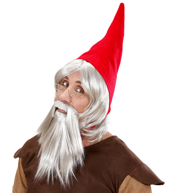 GNOME HAT RED WITH WIG BEARD GREY