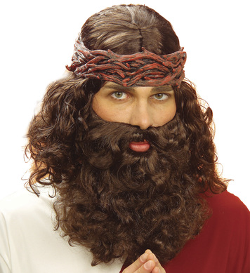 PROPHET JESUS WIG & BEARD SET BROWN