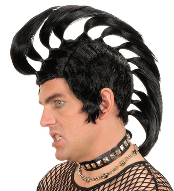 MOHAWK PUNK WIG BLACK
