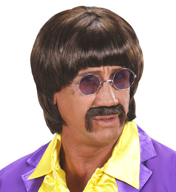 60s MUSIC MAN WIG W/TASH - BROWN