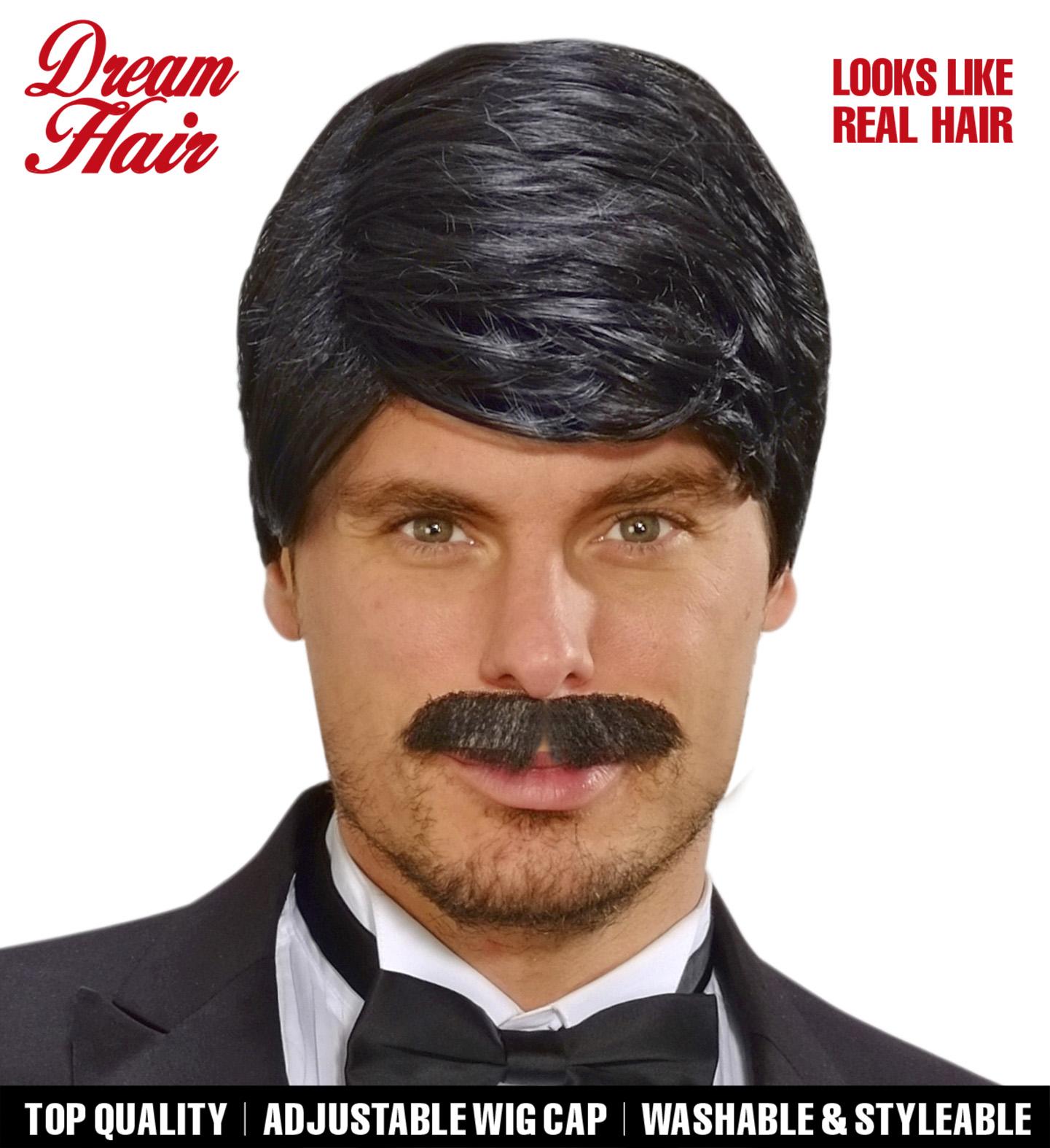 Black Playboy Dreamhair Wig & Moustache Fancy Dress