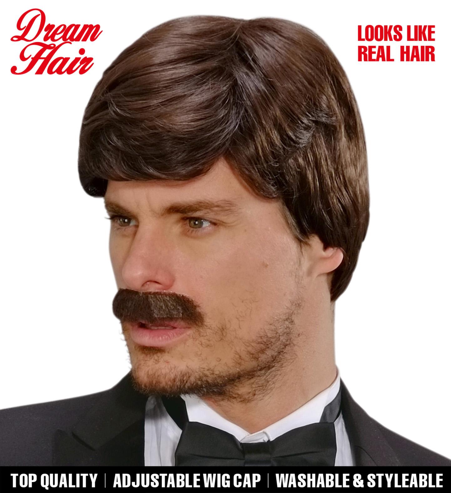 Brown Playboy Dreamhair Wig & Moustache Fancy Dress