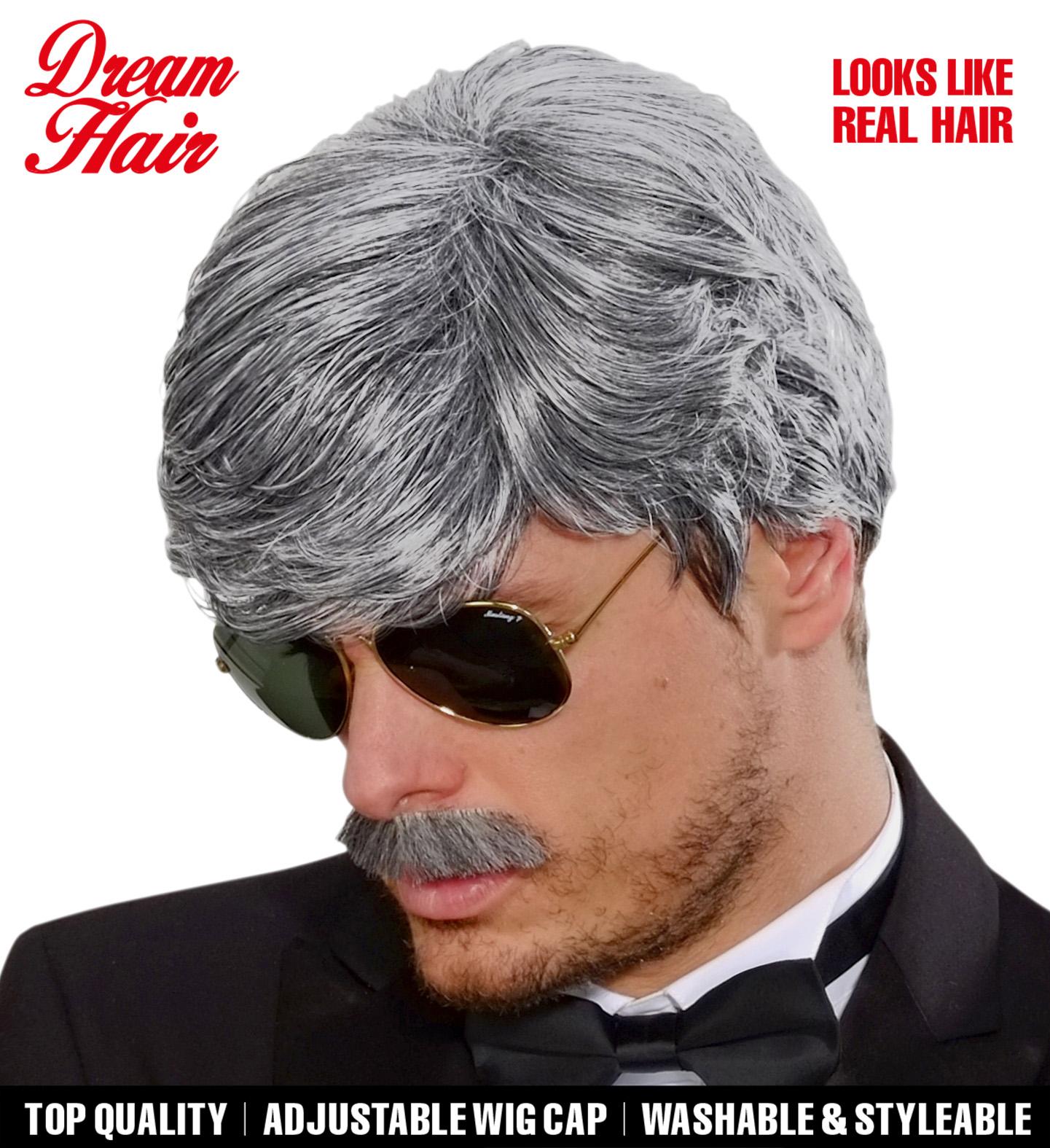 Grey Playboy Dreamhair Wig & Moustache Fancy Dress