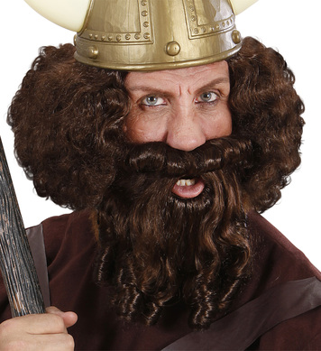 CHARACTER CURLY WIG/ BEARD - BROWN
