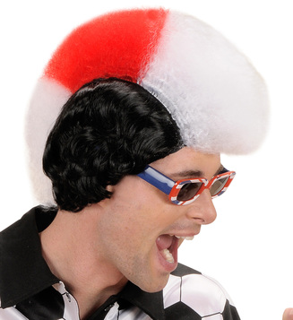 SUPPORTER MAN WIG - WHITE RED WHITE