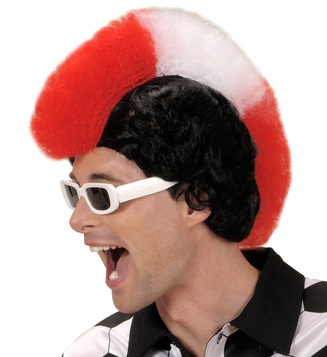 SUPPORTER MAN WIG - RED WHITE RED