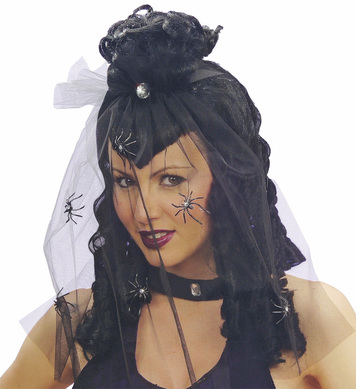 DARK MISTRESS WIG W/VEIL BLACK