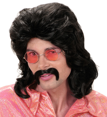 70s MAN WIG & MOUSTACHE - BLACK