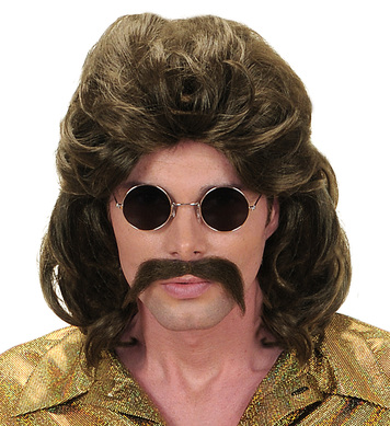 70s MAN WIG & MOUSTACHE - BROWN