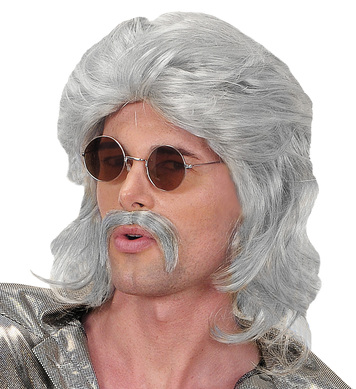 70s MAN WIG & MOUSTACHE - GREY